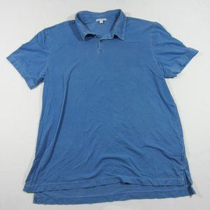 Standard James Perse Mens Suede Jersey Blue Polo 4